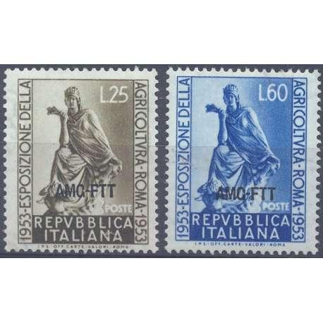 """1953 TRIESTE """"A"""" ESPOSIZIONE DELL' AGRICOLTURA A ROMA S.31 COMPLETA G.I. MNH** Trieste Zona """"A"""" francobolli filatelia stamps"""