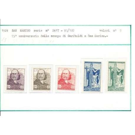 1924 ANNIVERSARIO RITIRATA DI GARIBALDI 30 E 60 cent. G.O. ALTRI G.I San Marino francobolli filatelia stamps
