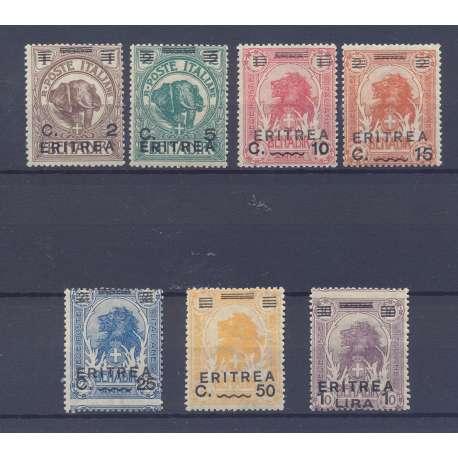 1922 ERITREA LEONI SOPRASTAMPATI S. 11 G.I. MNH** / 2 CENT. SU 1 B. G.O. MH* Colonie francobolli filatelia stamps