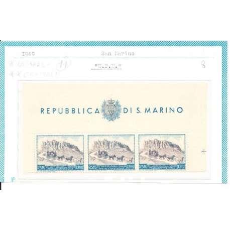 """1949 """"MEZZO"""" FOGLIETTO 75° ANNIVERSARIO UPU - CENTRALE CON G.I. LATERALI CON G.O San Marino francobolli filatelia stamps"""