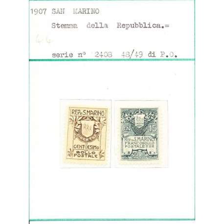 1907 STEMMA N.47-48 G.I - San Marino francobolli filatelia stamps