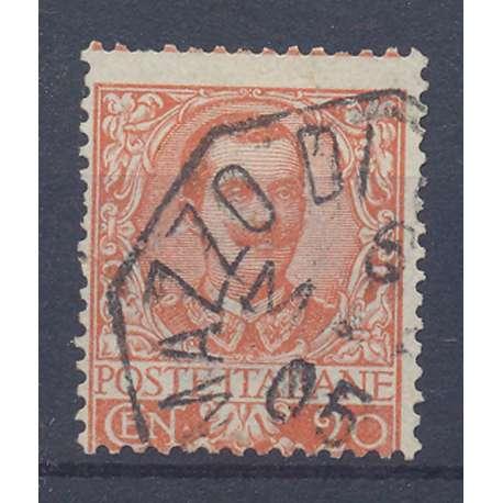 1901 REGNO D' ITALIA FLOREALE 20 c. ARANCIO N.72 DISC. CENTR. US. regno d' Italia francobolli filatelia stamps