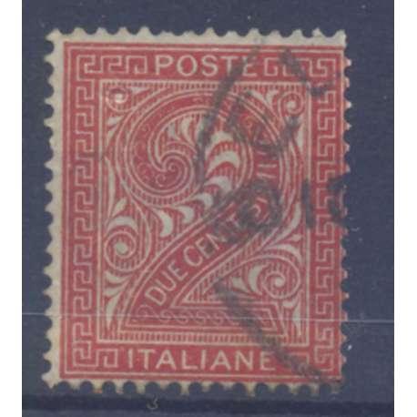 1863 REGNO D' ITALIA 2 c. ROSSO MATTONE N. T15 TORINO US. regno d' Italia francobolli filatelia stamps