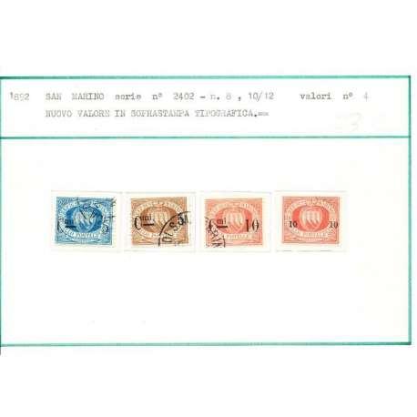 1892 SOPRASTAMPATI N. 8-11 U. - San Marino francobolli filatelia stamps