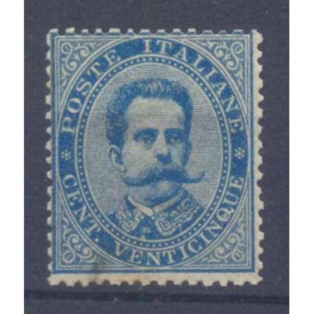 1879 REGNO D' ITALIA 25 c. AZZURRO N. 40 DISC. CENTR OSSIDO CERT. G.I. MNH** regno d' Italia francobolli filatelia stamps