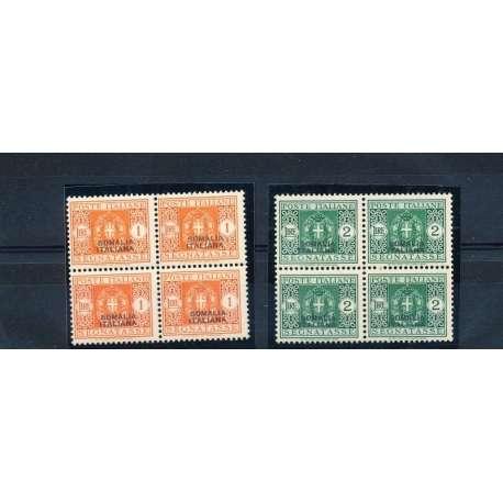 SOMALIA 1934 1 E 2 LIRE SEGNATASSE IN QUARTINE G.I
