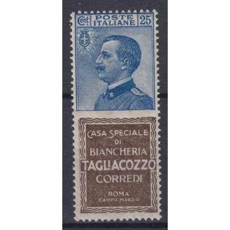 1924 PUBBLICITARI 25 CENTESIMI TAGLIACOZZO CENTRATO N. 8 G.I. MNH** CERTIFICATO regno d' Italia francobolli filatelia stamps