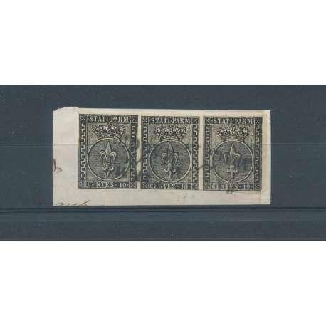 PARMA STRISCIA DA 3 SU FRAMMENTO U Modena e Parma francobolli filatelia stamps