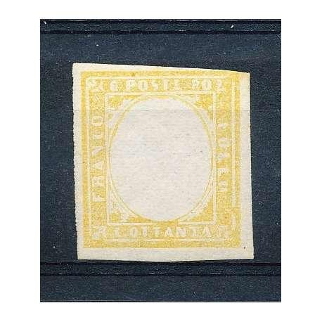 SARDEGNA 1858-62 80 CENT. GIALLO SENZA EFFIGIE FOTO TERRACHINI G.I. -- Sardegna francobolli filatelia stamps