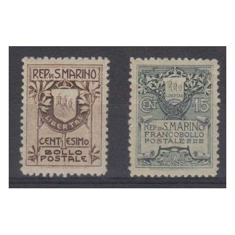 1910 1 E 15 CENT. STEMMA DI SAN MARINO CENTRATISSIMI E CERTIFICATI G.O. (MLH) San Marino francobolli filatelia stamps