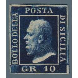 1859 SICILIA 10 gr. AZZURRO CUPO I T. n.12 FIRMA EM. DIENA G.O. MH* Sicilia francobolli filatelia stamps