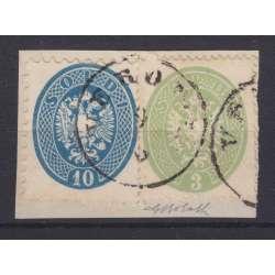 1863-64 LOMBARDO VENETO 10 s. D9 1/2 + 3 s. D14 Nn44-37a C. BOLAFFI SU FRAMMENTO Lombardo Veneto francobolli filatelia stamps