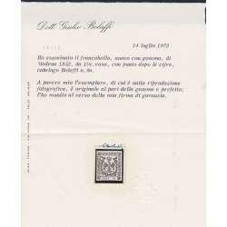 1852 MODENA 10 c. ROSA n.9 CON PUNTO CERT. G. BOLAFFI G.I. MNH** Modena e Parma francobolli filatelia stamps