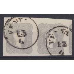 1861 LOMBARDO VENETO PER GIORNALI 1,05 s. GRIGIO CHIARO n.10 COPPIA CERT. US. Lombardo Veneto francobolli filatelia stamps
