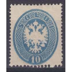 1863 LOMBARDO VENETO 10 s. AZZURRO n.39 RARO CERT. BOLAFFI + DIENA G.O. MH* Lombardo Veneto francobolli filatelia stamps