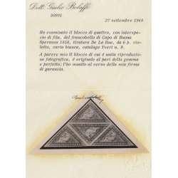 CAPO DI BUONA SPERANZA 1858 6 PENNY IN QUARTINA TRIANGOLARE CERTIF. MH*/MNH** Inghilterra francobolli filatelia stamps