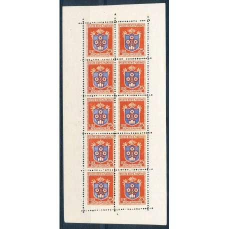 MINIFOGLIO STEMMI 25L. CON DENTEL FORTEMENTE SPOSTATA SOTTO GLI ULTIMI 2 VALORI San Marino francobolli filatelia stamps