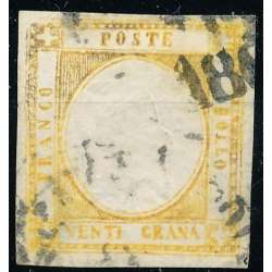 1861-62 PROVINCE NAPOLETANE 20 gr. GIALLO ARANCIO F11 FALSO D' EPOCA US. Napoli francobolli filatelia stamps