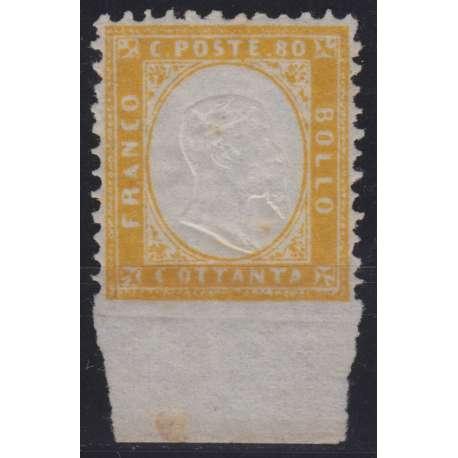 1862 REGNO 80 c. GIALLO ARANCIO NON DENTELLATO IN BASSO INTEGRALE n.4l G.O. MH* regno d' Italia francobolli filatelia stamps
