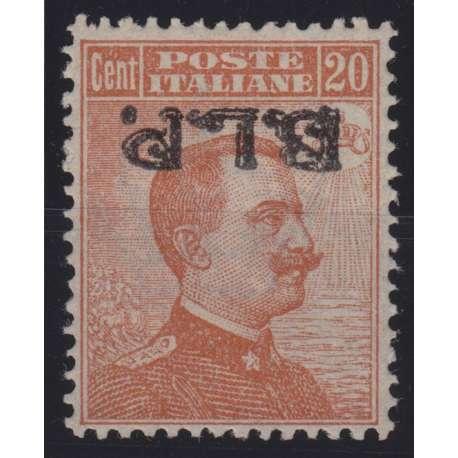 1923 REGNO B.L.P. 20 c. SOPR. CAPOVOLTA n.15c OTTIMA CENTRATURA CERT. G.O. MH* regno d' Italia francobolli filatelia stamps