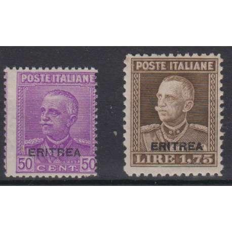 COLONIE ERITREA 1928-29 S. 31 2 VALORI ORDINARI SOPRASTAMPATI G.I. MNH** Colonie e Occupazioni francobolli filatelia stamps