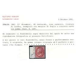 REGNO D'ITALIA 1863 40 CENTESIMI LONDRA DE LA RUE N. L20 TOP G.I. MNH** 2 CERT. regno d' Italia francobolli filatelia stamps