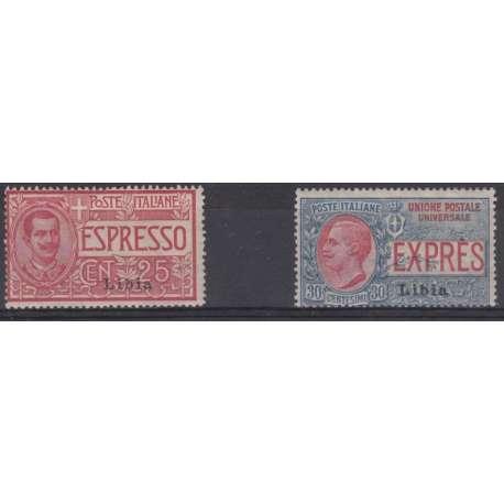 LIBIA 1915 ESPRESSI N.° 1 E 2 G.I. Colonie francobolli filatelia stamps