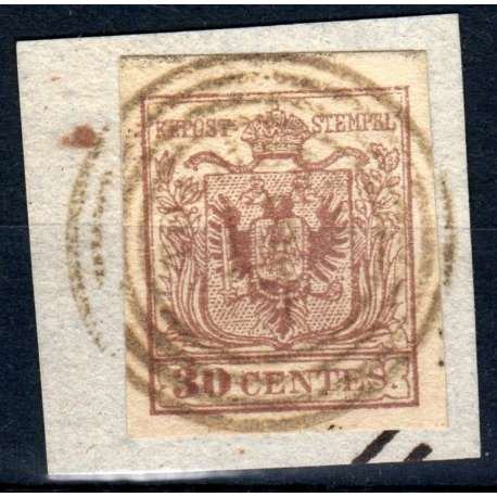 1854-57 LOMBARDO VENETO 30 c BR. ROSSICCIO n.21a TIMBRO 7 pt. F. RAY/OLIVA FRAM Sicilia francobolli filatelia stamps