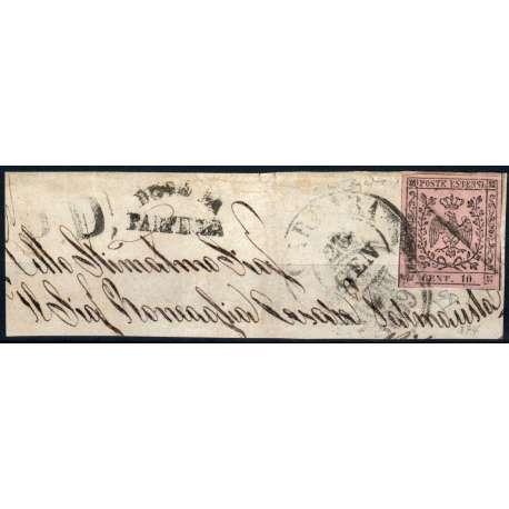1852 MODENA 10 c. ROSA n. 9 CON PUNTO FIRMA RAY+DIENA SU FRAMMENTO CERT. US. Modena e Parma francobolli filatelia stamps