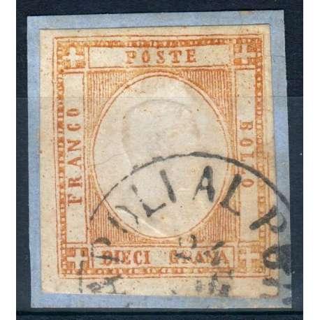 1861-62 PROVINCE NAPOLETANE FALSI EPOCA 10 gr. ARANCIO n.F7 CERT. SU FRAMMENTO Napoli francobolli filatelia stamps