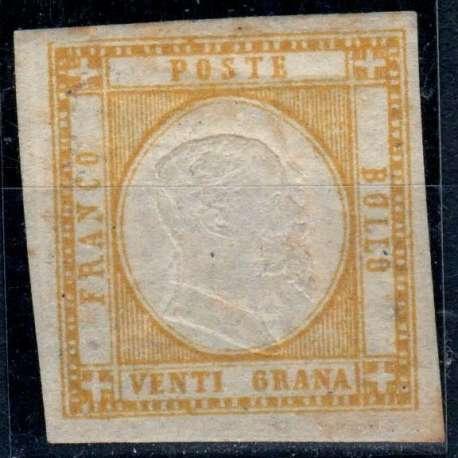 1861 PROVINCE NAPOLETANE 10 gr. GIALLO n.23 DOPPIA EFFIGIE CERT. US. Napoli francobolli filatelia stamps