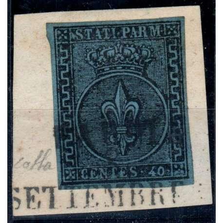 1852 PARMA 40 c. AZZURRO n.5 FIRMA COLLA CERT. SU FRAMMENTO US. Modena e Parma francobolli filatelia stamps