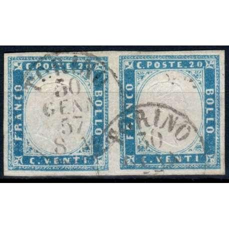 1855 SARDEGNA 20 c. COBALTO n.15 COPPIA FIRMA DIENA/G. BOLAFFI + CERT. US. Sardegna francobolli filatelia stamps