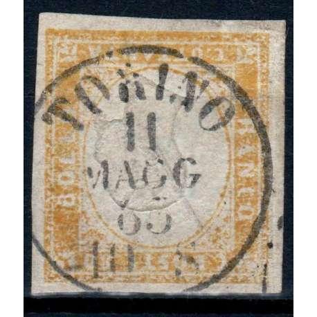 1859 SARDEGNA 80 c. GIALLO OCRA PALLIDO n.17A FIRMA RAYBAUDI + CERT. US. Sardegna francobolli filatelia stamps
