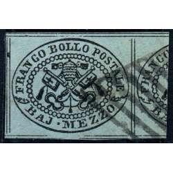 1852 STATO PONTIFICIO 1/2 b. GRIGIO AZZURRO n.1a OTTO FILETTI CERT. COLLA US. Stato Pontificio francobolli filatelia stamps