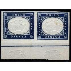 1862 SARDEGNA 20 c. INDACO n.15Ed IN COPPIA VARIETA' CERT. G.O. MH*/G.I.** Sardegna francobolli filatelia stamps