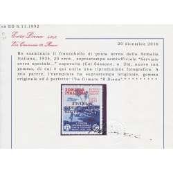 1934 SOMALIA SERVIZIO AEREO 25 c. SOPR. CAPOVOLTA n. 2b CERT. T.L. MLH* Colonie e Occupazioni francobolli filatelia stamps