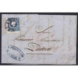 1858 LOMBARDO VENETO 15 s. AZZURRO I TIPO n27 SU BUSTA US. Lombardo Veneto francobolli filatelia stamps