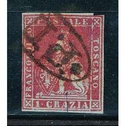 1851 TOSCANA 1 CR. CARMINIO SU GRIGIO (4d) RARO ANNULLO P.12 CERTIFICATO HQ US. Toscana francobolli filatelia stamps