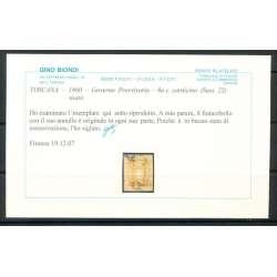 1860 TOSCANA 80 c. CARNICINO (22) BUONO STATO DI CONSERVAZIONE CERTIFICATO US. Toscana francobolli filatelia stamps