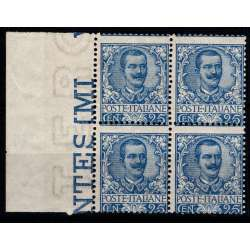 1901 REGNO FLOREALE 25 c. AZZURRO n.73 QUARTINA CERT. G.I. MNH** regno d' Italia francobolli filatelia stamps