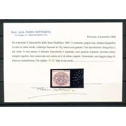 1867 PONTIFICIO 3 C.(14) FRESCO E BEN MARGINATO LEGGERA PIEGA CERT. G.O. (MH) Stato Pontificio francobolli filatelia stamps