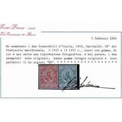REGNO D'ITALIA 1910 GARIBALDI 4 V. G.I MNH** CERT. DIENA regno d' Italia francobolli filatelia stamps