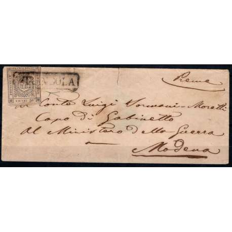 1859 MODENA GOV. PROVVISORIO 20 c. n.15 SU BUSTA CERT. Modena e Parma francobolli filatelia stamps