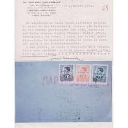 1942 PARTIGIANI DEL LOVEN 3 V. MONTENEGRO SU RARISSIMA BUSTA CERT. Occupazioni francobolli filatelia stamps