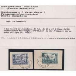 1941 OCC. MONTENEGRO 40 d. E 50 d. SASS. 8A-8B SU FRAMMENTI CERT. US. Occupazioni francobolli filatelia stamps