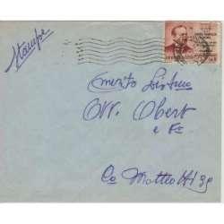 1956 REPUBBLICA VIGNETTA DA 5 L. SU BUSTA VIAGGIATA CERT. repubblica italiana francobolli filatelia stamps