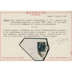 1944 ALESSANDRIA 1,25 L. SOPR. CAPOVOLTA PFR n. 5a CERT. SU FRAMMENTO Occupazioni francobolli filatelia stamps