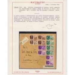 1944 R.S.I. PROPAGANDA DI GUERRA SAGGIO 12 V. SU BUSTA VIAGGIATA CERT. R.S.I. e Luogotenenza francobolli filatelia stamps
