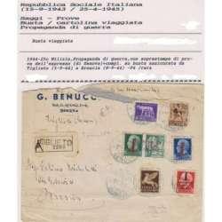 1944 PROPAGANDA DI GUERRA 25 c. SOPR. PROVA n.P4 + COMPL. BUSTA VIAGGIATA Occupazioni francobolli filatelia stamps